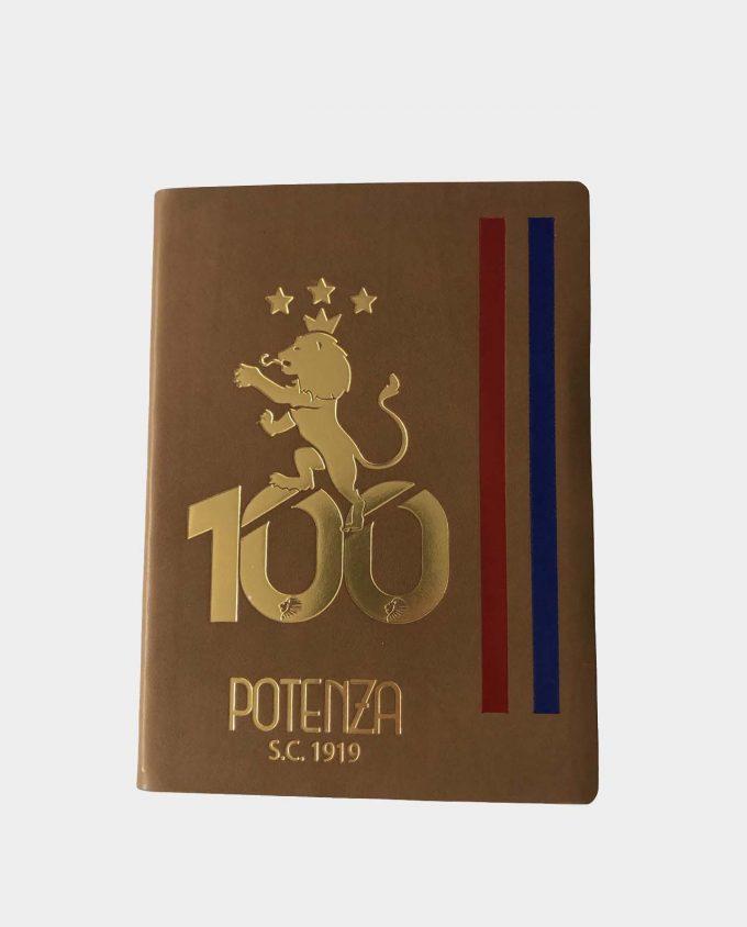 Taccuino in pelle beige Potenza Calcio Centenario 1919 con fregio dorato